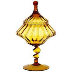 1960s Italian Empoli art glass jar offered by 2-b-Modern on 1st Dibs #vintageunscripted #vintagehomedecor #ontheblog