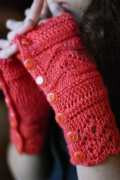 Knitted fingerless mittens, Katinka pattern from Through the Loops.