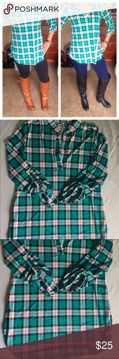 Green Plaid Shirt This is a Fall must have This shirt is brand new!! It has one small gold button on each sleeve and a slight v neck. It looks awesome with leggings and boots!! It is a staple in my closet and a go to!! It is not super warm as it is 100% polyester but it is super cute                                                                              Small Bust: 34 inches Length: 27 inches    Large Bust: 37 inches Length: 27 inches Tops Tees - Long Sleeve