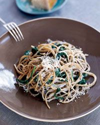 Spaghetti with Lemon, Chili and Creamy Spinach from Food & Wine. So excited to try this with zucchini ribbons or spaghetti squash. Low-fat yogurt makes this decadent and healthy!
