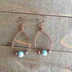 Handmade Jewelry - Copper Imperial Jasper Earrings