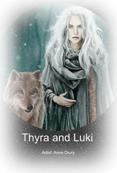 THYRA WINTHER: The Snow Queen, with Luki, her wolf companion.  (Illustration by Anne Drury).