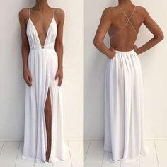 Sexy Deep V-Neck Spaghetti White Chiffon Side Slit Long Prom Dresses, G030