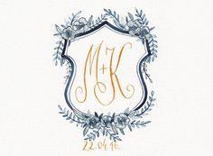 Custom watercolor crest hand painted, family crest, monogram, digital