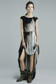 Zara #fashion #gown #dress #dip_dye #boots