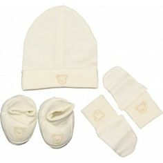 Kit naissance 3 pièces mixte   Bonnet, chaussons, moufles en coton écru 31ee22d2d54