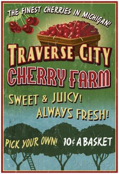 Traverse City, Michigan - Cherry Farm Posters at AllPosters.com