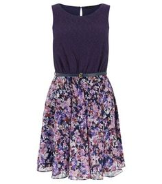 Navy 2 in 1 Lace Floral Print Belted Dress