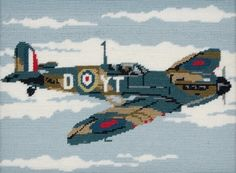 Anchor Spitfire Tapestry Kit - Kit contains instructions, needle, 14 HPI printed canvas and Anchor Tapisserie Wool. Embroidery Kits, Cross Stitch Embroidery, Spitfire Airplane, Airplane For Sale, Tapestry Kits, Hobbies For Men, Cross Stitch Supplies, Sand Art, Sewing Kit