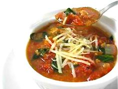 Dreamy Tomato Soup Florentine.This soup is super easy to make and really yummy! Serve as a first course soup or create a soup and sandwich or salad meal! Each serving, 144 calories, 5 grams of fat and 4 Weight Watchers POINTS PLUS. http://www.skinnykitchen.com/recipes/dream-tomato-soup-florentine/