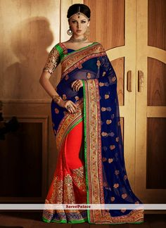 Navy Blue And Red Faux Chiffon And Net Half N Half Saree