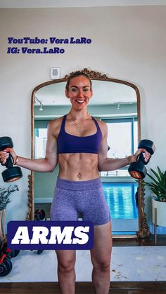 Bicep And Tricep Workout, Dumbbell Workout, Body Workout At Home, Fitness Workout For Women, Gym Workout For Beginners, Workout Videos, Slim Waist Workout, Der Arm, Shoulder Workout