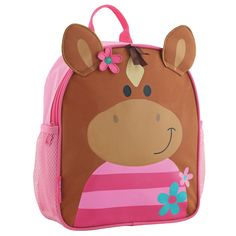 The Horse Mini Sidekick Backpack from Stephen Joseph features side mesh pockets and a cute pink horse design. This bag also features adjustable straps that are cushioned for maximum comfort. Mochila Skip Hop, Horse Backpack, Best Kids Backpacks, Kindergarten, Toddler Backpack, Horse Face, School Bags For Girls, Horse Girl, Toddler Preschool