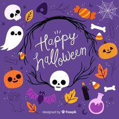 Ute fond d'halloween avec un design plat Vecteur gratuit | Free Vector #Freepik #vector #freefond #freepartie #freeconception #freehalloween
