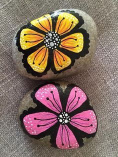 brightly colored painted rocks