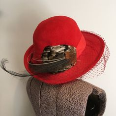 Vintage Hat ~ Bonwit Teller Red Felt Bowler Hat with Feathers and Veil  Netting ~ Don 5893f67c1aa2
