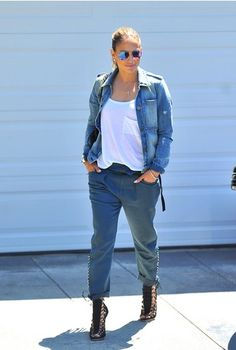 White t-shirt+blue baggy pants+heeled sandals+denim jacket. SS outfit 2016
