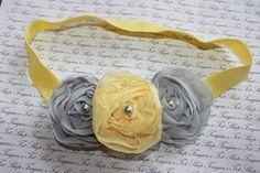 Yellow and Gray Chiffon Baby Flower Headband, Newborn Headband, Baby Girl Flower Headband, Photography Prop. $11.95, via Etsy.