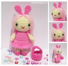Amigurumi en français de K and J Dolls: Petite Dame Rose - Patron d'Amigurumi Gratuit