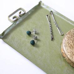 Braided Stud Earrings in Hunter Green  Textile Jewelry