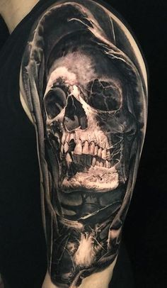 110 Unique Grim Reaper Tattoos You'll Need to See - Tattoo Me Now Pirate Skull Tattoos, Animal Skull Tattoos, Bird Skull Tattoo, Bull Skull Tattoos, Skull Sleeve Tattoos, Sugar Skull Tattoos, Skull Tattoo Design, Body Art Tattoos, Mexican Skull Tattoos
