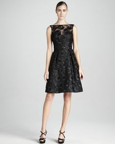 Sequined Lace Cocktail Dress by Theia at Neiman Marcus.