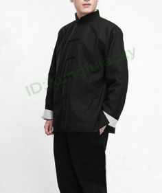 Bruce Lee Costume Fist of Fury Uniform Wing Chun kung Fu Jacket Tai Chi Martial Art Classic Black Long Jersey $35.99