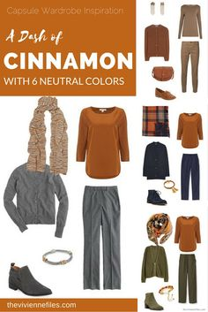 Wardrobe Color Palette - A Dash of Cinnamon, with 6 Neutral Colors Capsule wardrobe colour palette inspiration - a dash of cinnamon with 6 neutral colorsCapsule wardrobe colour palette inspiration - a dash of cinnamon with 6 neutral colors Look Fashion, Winter Fashion, Womens Fashion, Fashion Tips, The Vivienne, Fall Capsule Wardrobe, Warm Autumn, Deep Autumn, Warm Spring