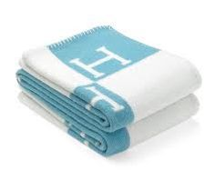 """Hermes Classic Blue & Cream Avalon """"H"""" Blanket. Get the lowest price on Hermes Classic Blue & Cream Avalon """"H"""" Blanket and other fabulous designer clothing and accessories! Shop Tradesy now"""