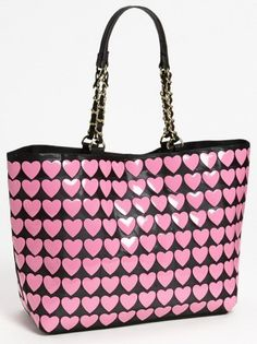 Betsey Johnson 'Hearts' Tote available at - Taylor Mcclung - Mode Rose, Betsey Johnson Handbags, Couleur Fuchsia, Cute Purses, Pink Purses, Purses And Handbags, Cheap Handbags, Handbags Online, Leather Handbags