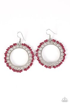 "Paparazzi ""Shake That Tambourine"" Pink Seed Bead Filigree Round Silver Tone Earrings"