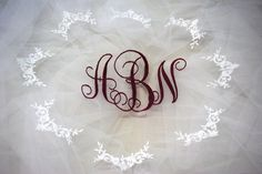 Ashley's Custom monogram on veil illusion by TimelessWeddingsShop