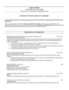 A Resume Template For An Emergency Room Assistant You Can Download It And Make