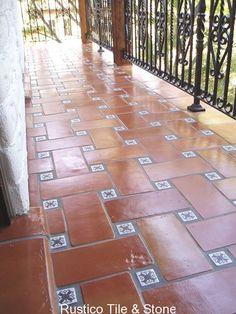 6x12 Saltillo tile with talavera inserts