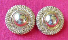 Gold-tone Button Earrings Clip On Double Marked David Grau Spain #DavidGrau #ClipOnButton