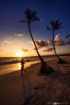 Women jogging at sunrise, Bavaro Beach, Punta Cana, Dominican Republic
