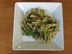 Ham, Spinach, & Mushroom Pasta with Pistachio Pesto