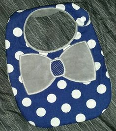 Bow Tie Baby Boy Bib Navy Blue Polka Dots and Grey Minky Reversible by LittleTexasBabes on Etsy