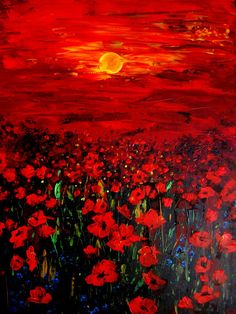 Painting Acrylic Original Poppy Field  Red by ArtonlineGallery, $290.00
