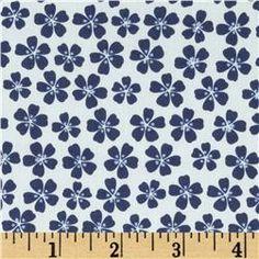 Morocco Blues Stretch Poplin Floral White