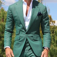 I need this suit in my closet. The wide lapel, the color, the fit. So perfect! Mens Suit Stores, Mens Suits, Mode Masculine, Suit Fashion, Mens Fashion, Fashion Outfits, Stylish Men, Men Casual, Blazer Outfits Men