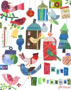 Christmas Bird Art by Jill McDonald Design