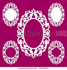 Laser cut vector frame collection. Set of abstract oval and round frames with swirls, vector ornament, vintage frame. May be used for laser cutting. Photo frames with lace for paper cutting.
