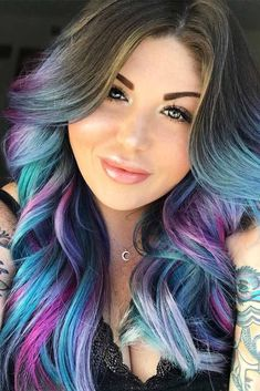 Mystic Sky Blue To Purple Hair Colors. Purple hair color variations surprise us with their numerousness and versatility. And taking into account the increasing popularity of purple hairstyles, we think that it is time to discuss this topic in detail. So, today we are going to share with you some cool looks with purple hair! #purplehair #puplehairstyle #purpleombre