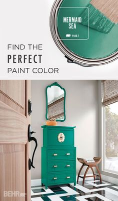 Front door color Updating your antique chest of drawers? Using a bold paint color like Mermaid Sea and gold pull handles can instantly modernize any piece of furniture. This turquoise paint color looks great against neutral walls for a fun pop of color. Interior Paint Colors, Paint Colors For Home, House Colors, Interior Design, Behr Colors, Colours, Turquoise Painting, Turquoise Paint Colors, Turquoise Accents