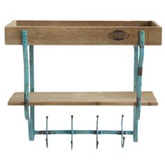 You'll love the 2 Shelfs and 4 Hooks Wood/Metal Accent Shelf at Wayfair - Great Deals on all Décor  products with Free Shipping on most stuff, even the big stuff.