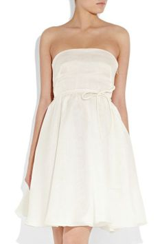 Strapless organza party gown with empire waist
