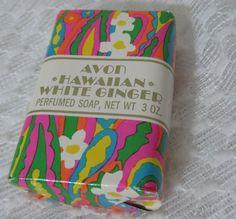 Vintage 70s Avon Hawaiian White Ginger Perfumed Bar Soap w Original Wrap 3 oz #Avon #Vintage