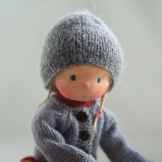 Knitted doll Greta 14 by Peperuda dolls by PeperudaKnittedDolls Knitted Dolls, Knitted Hats, Arne And Carlos, Waldorf Dolls, Hello Dolly, Sheep Wool, Artisanal, Long Legs, Wool Yarn