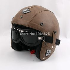 Cheap leather motorcycle helmets, Buy Quality motorcycle helmet vintage directly from China vintage scooter helmet Suppliers: 2016 New brand KCO Retro PU Leather Motorcycle Helmet vintage scooter Helmet motociclistas capacete with goggles,DOT Approved Leather Motorcycle Helmet, Scooter Helmet, Womens Motorcycle Helmets, Cafe Racer Helmet, Cool Motorcycle Helmets, Motorcycle Style, Chapeau Cowboy, Helmet Brands, Vintage Helmet